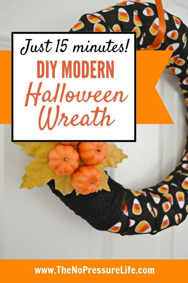easy DIY modern Halloween wreath tutorial