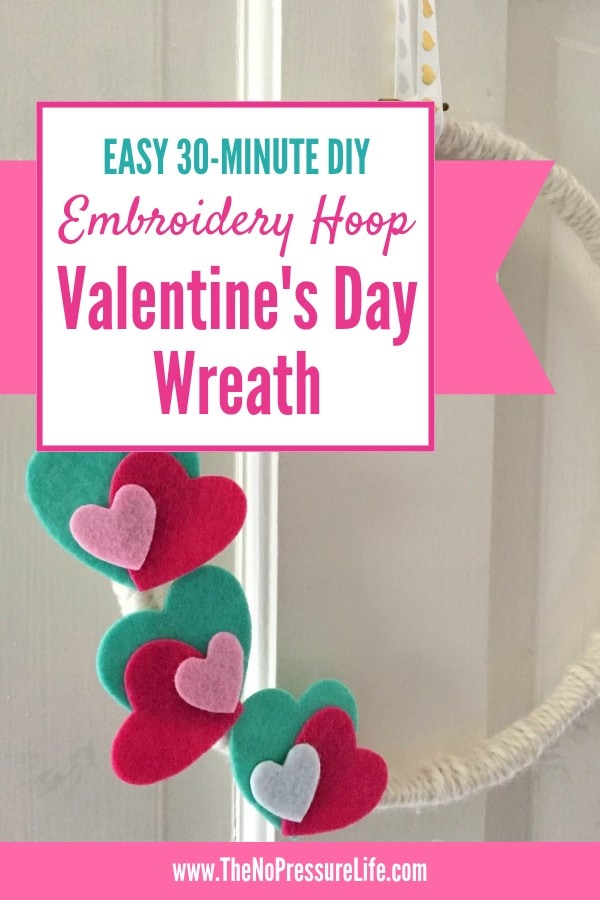 How to make an embroidery hoop Valentine's Day wreath