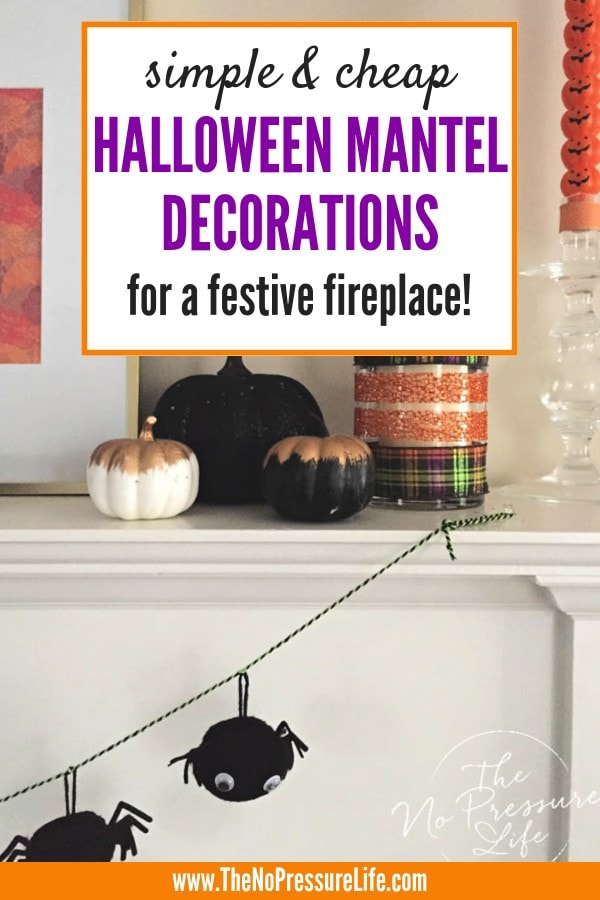 Simple Halloween mantel decorations for a festive fireplace