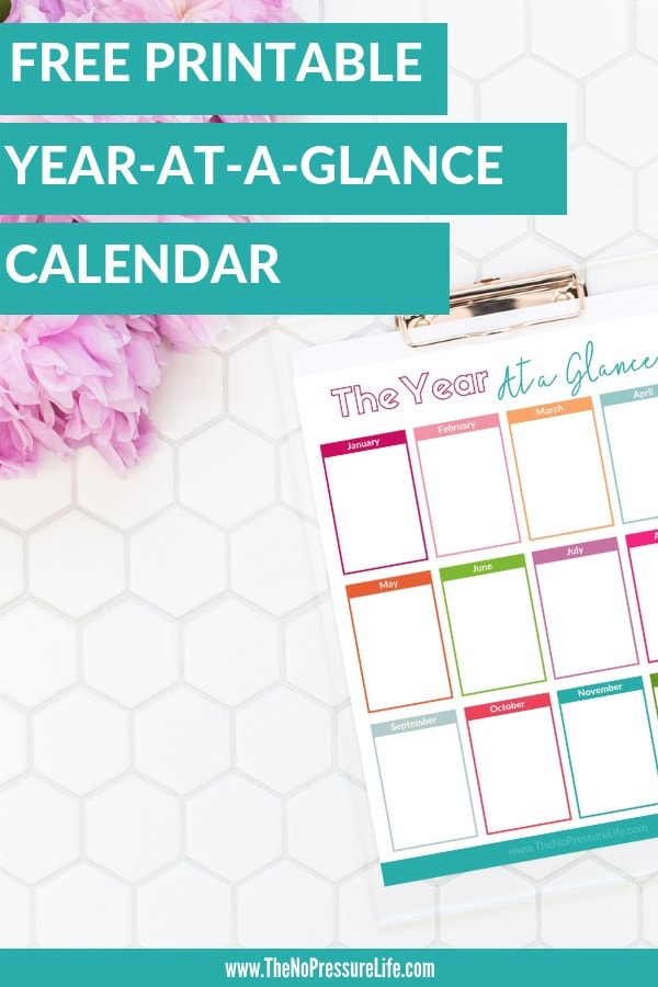 Free printable year at a glance calendar blank template for 2019 and undated