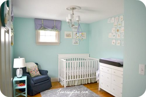 Beautiful aqua, lavender, and gray girls nursery design with lots of handmade touches.