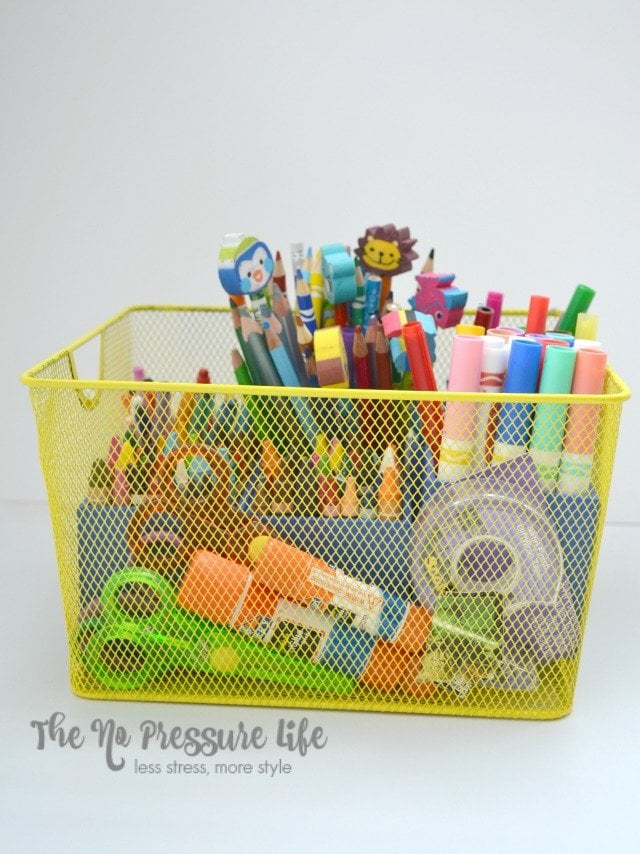 DIY art caddy for kids made with dollar store mesh metal basket