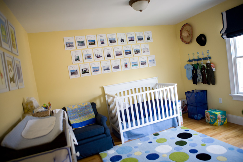blue and yellow travel-theme nursery