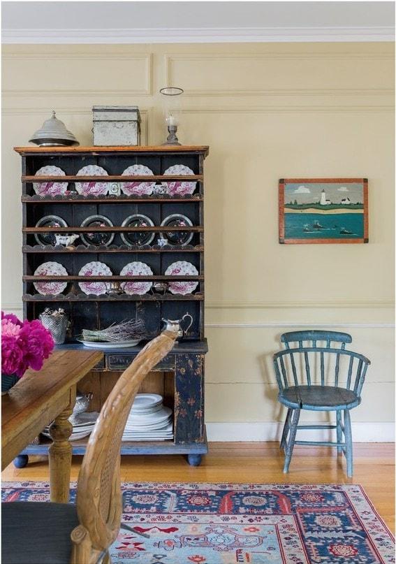Blue and Cream Farmhouse Dining Room