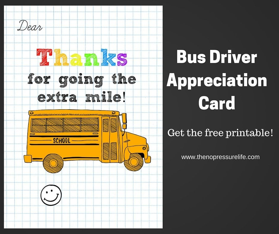 picture relating to Bus Driver Thank You Card Printable named Bus Driver Appreciation Card: No cost Printable!