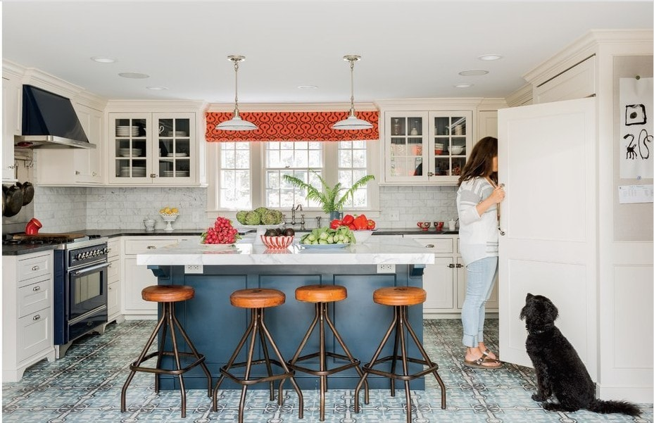 Eclectic Farmhouse style - blue and white kitchen