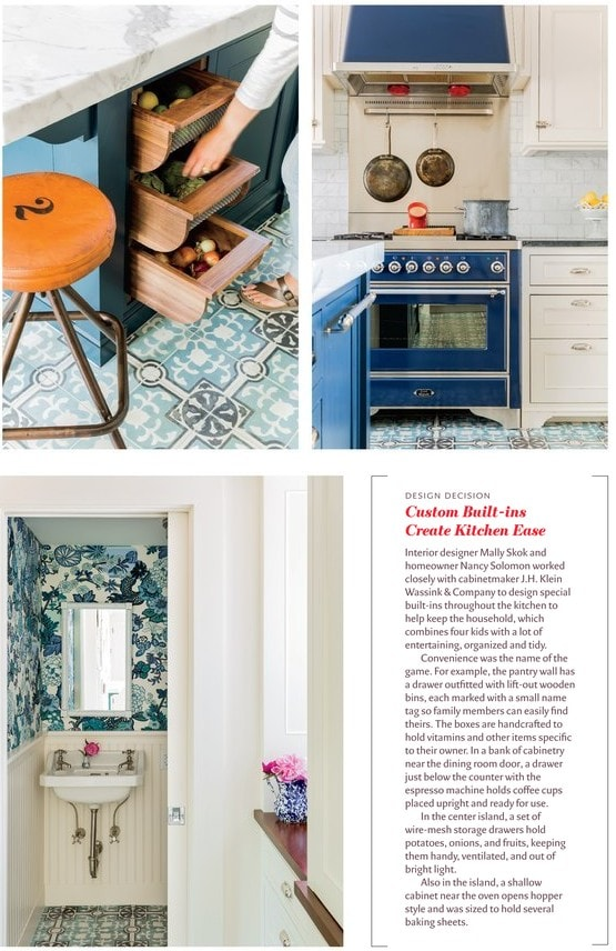Eclectic Farmhouse blue and white powder room