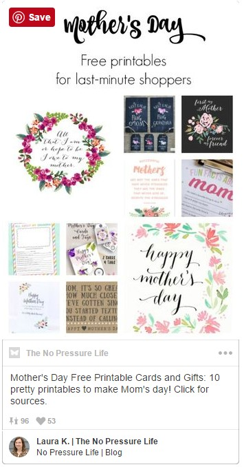 Mother's Day Free Printable Cards and Gifts