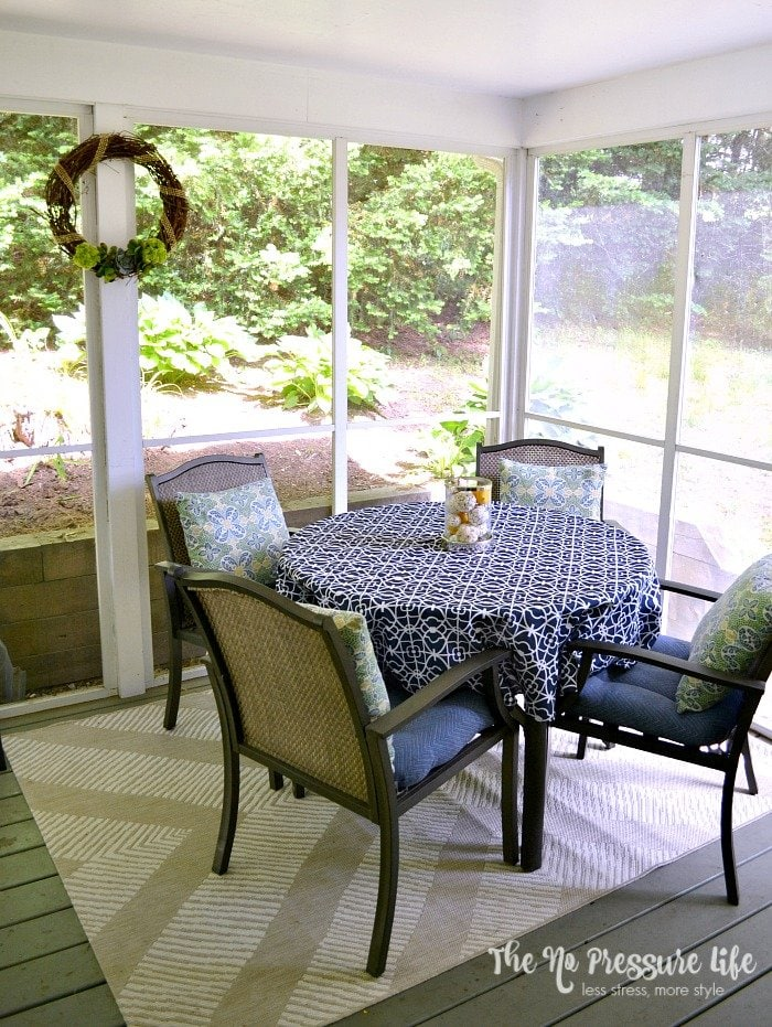 decorating a small screened in porch - first phase of a makeover