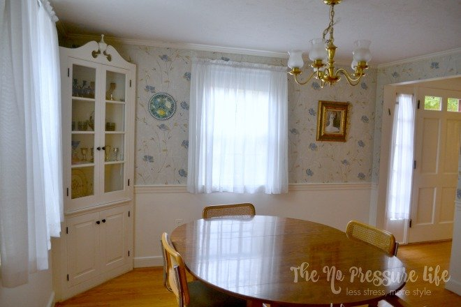 Dining Room with corner hutch before renovation