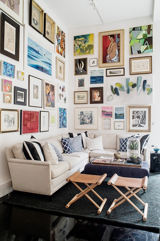 Corner sectional with large gallery wall, via SF Girl by Bay, photo by Cindy Loughridge Photography.