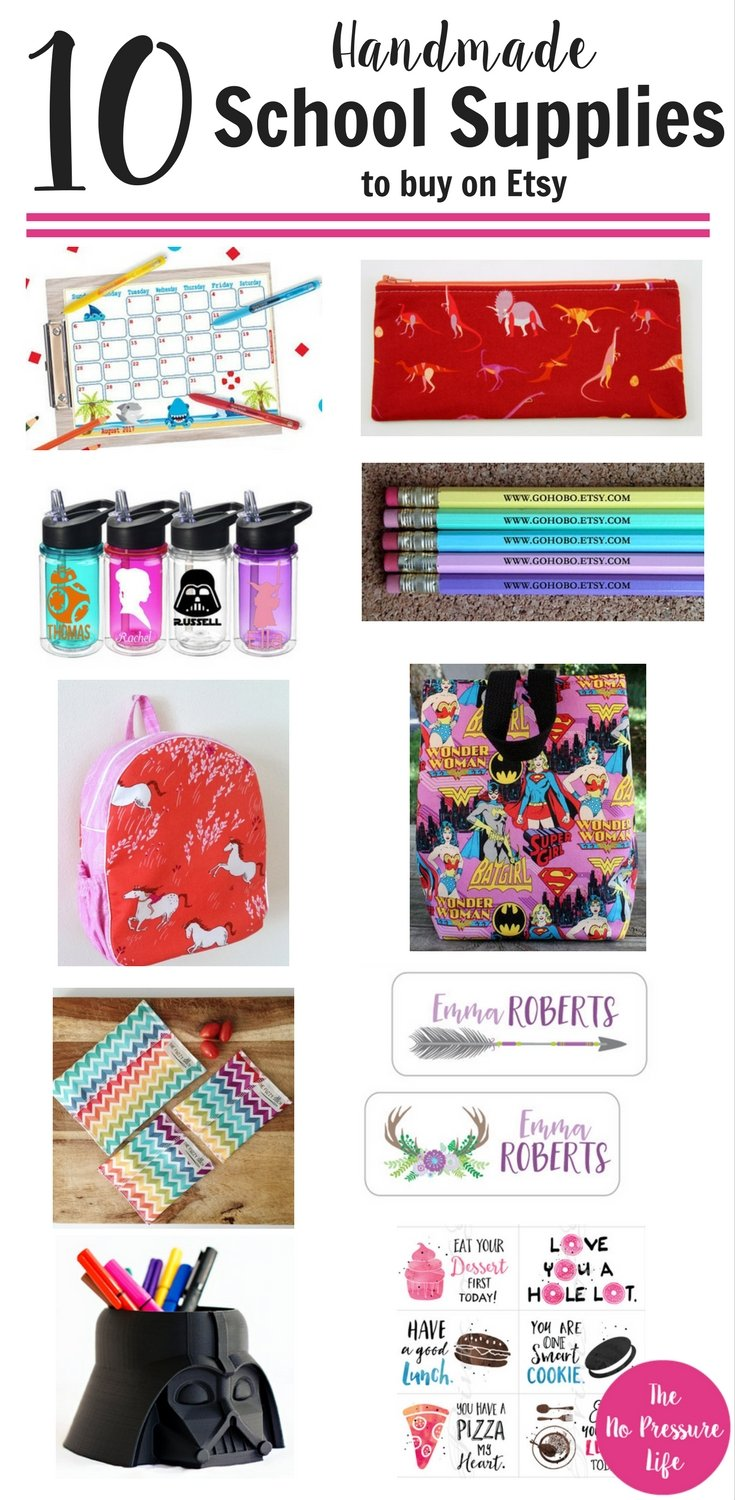 Love these unique handmade school supplies from Etsy! From handmade backpacks to personalized pencils, kids and grownups will love these school supplies.