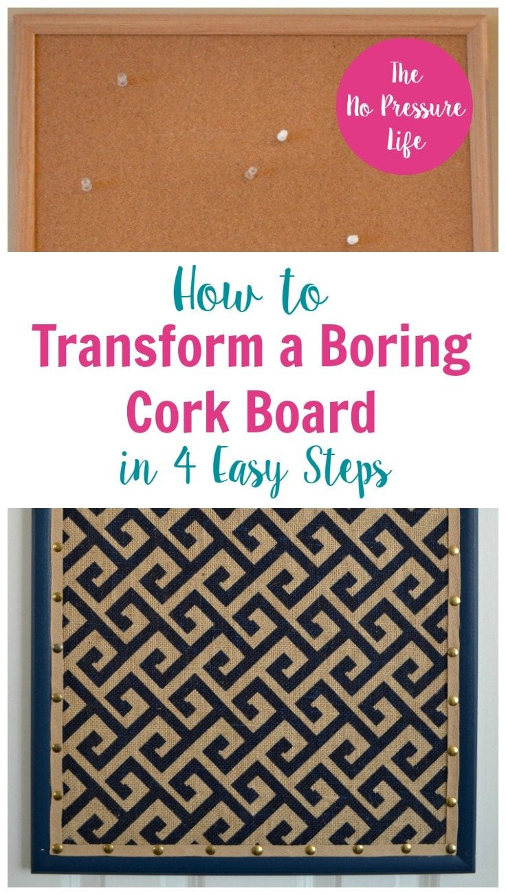 Cork board makeover tutorial: How to Transform a Boring Cork Board in 4 Easy Steps