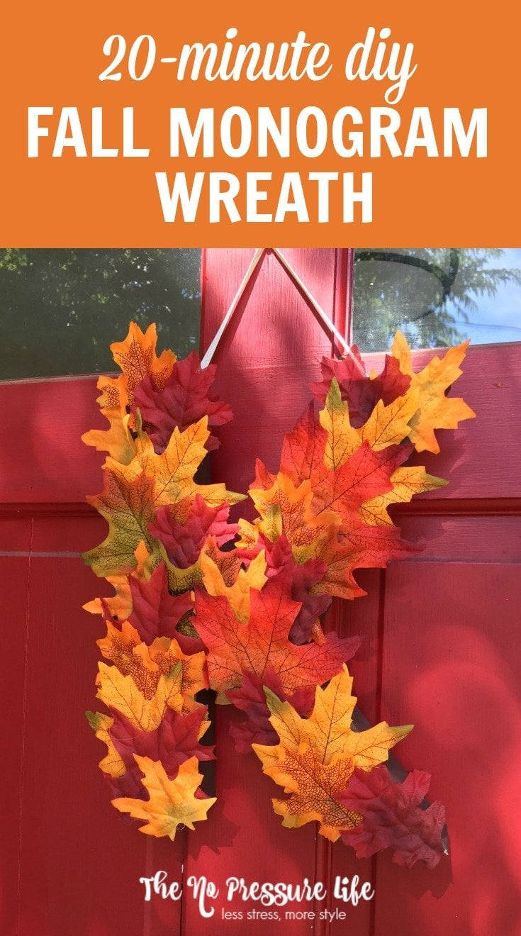 Craving easy fall decor? Learn how to make a DIY fall monogram wreath craft with this step-by-step tutorial. You'll have pretty, DIY door decor for fall in 20 minutes!
