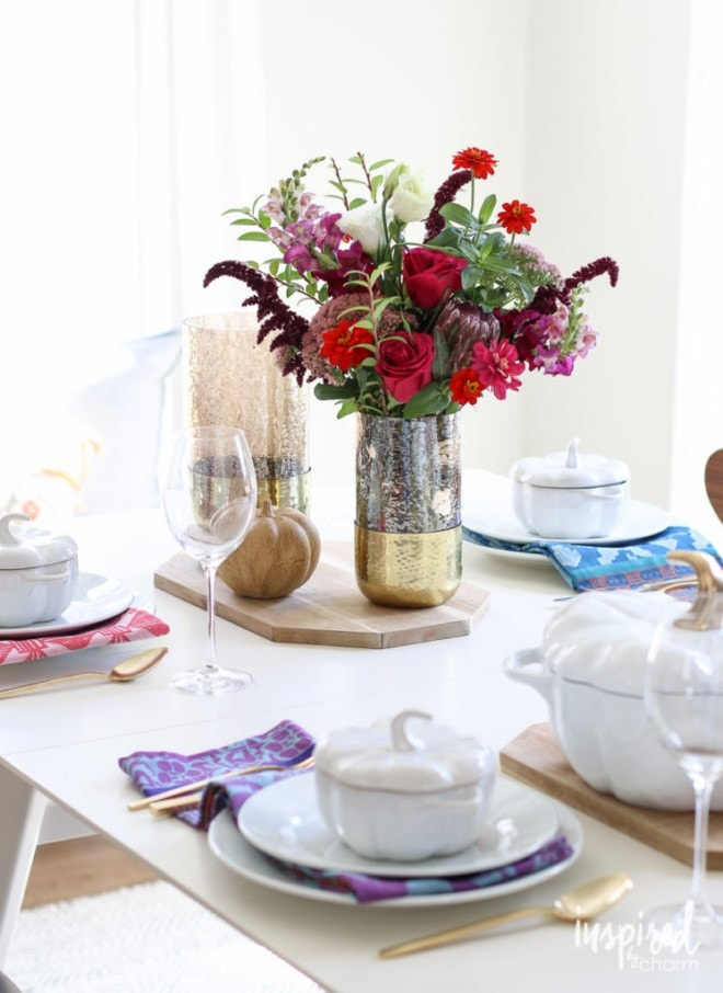 Fall table setting with jewel tones - Inspired by Charm