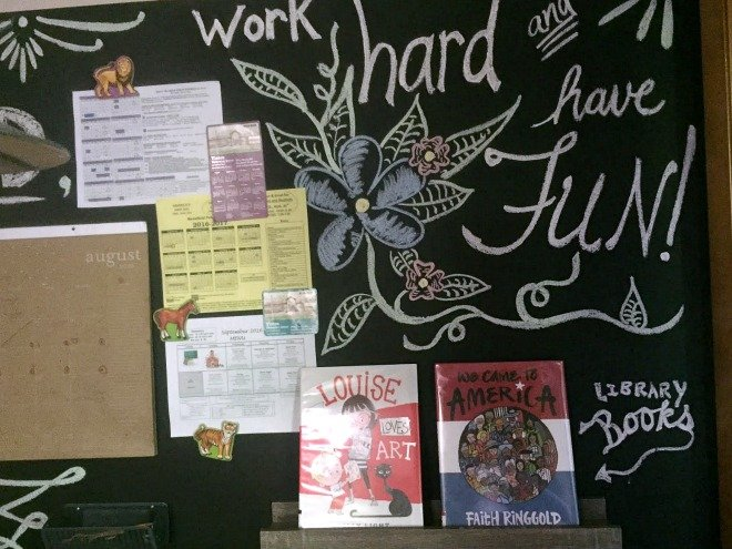 magnetic chalkboard wall with calendar and books