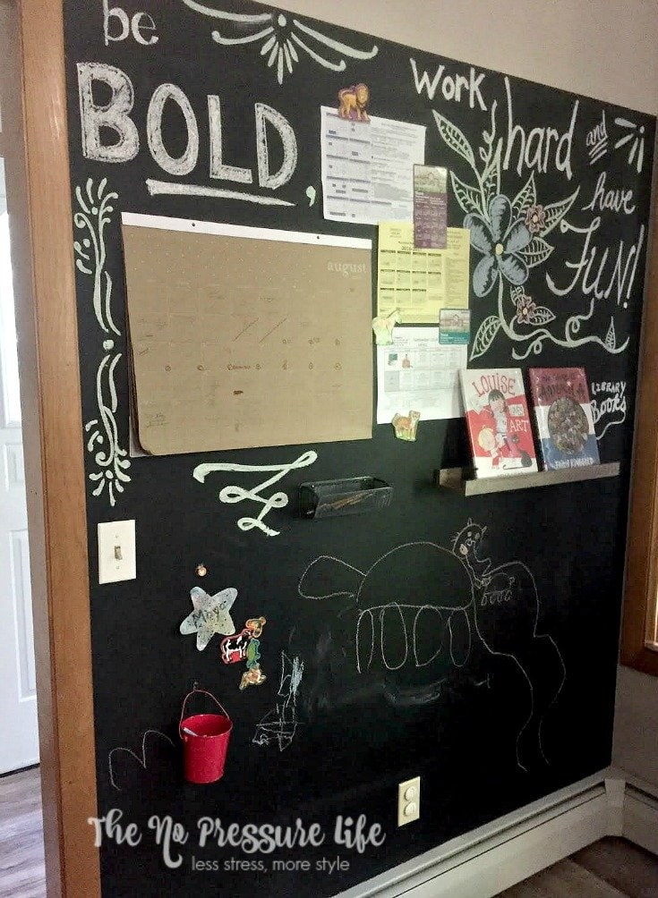 magnetic chalkboard wall as a kitchen command center