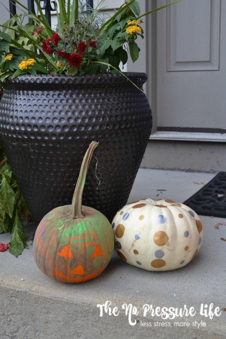 Painted pumpkin idea for kids using painters tape