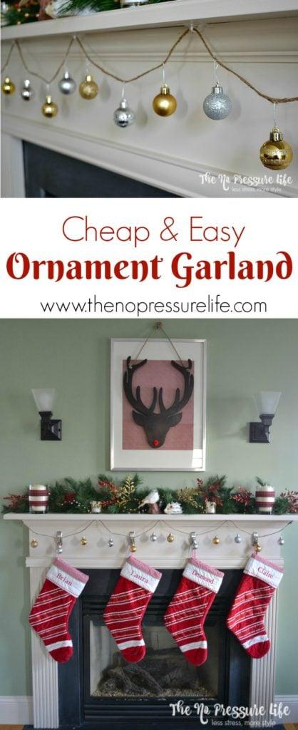 simple DIY ornament garland for Christmas
