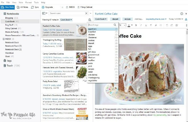 How to Create a Virtual Cookbook with Evernote | The No Pressure Life