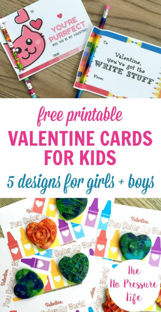 Free printable Valentine's Day cards for kids - cute for boys and girls