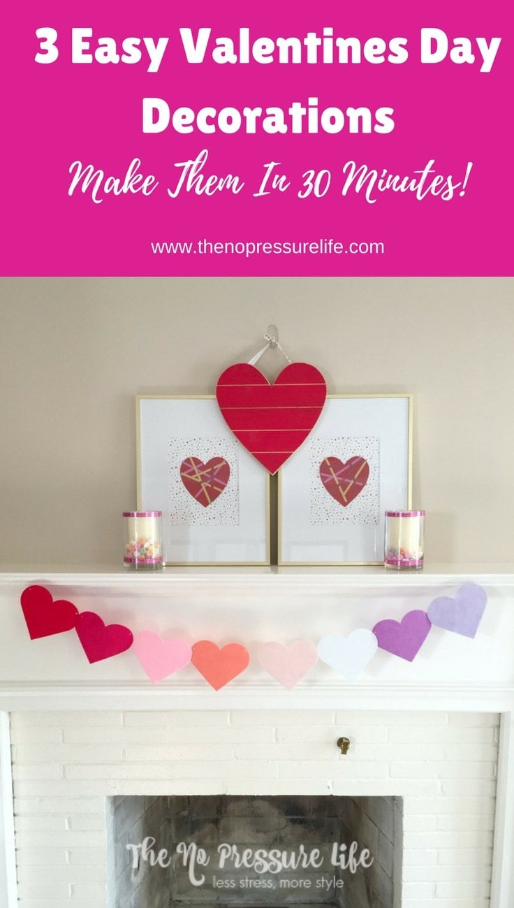 Valentine's Day mantel decorations - easy Valentine's Day DIY mantel decorations