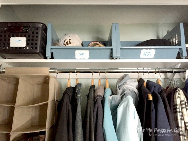 See more of this organized coat closet at The No Pressure Life.
