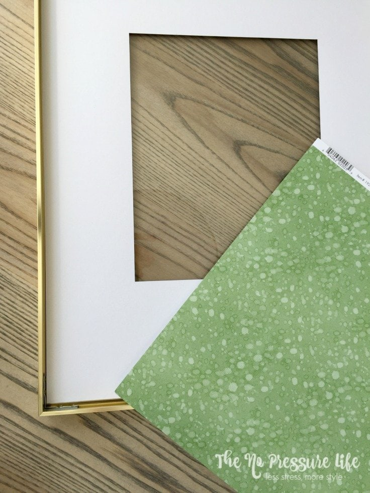 Gold picture frame with green scrapbook paper - St. Patrick's Day Mantel Decor