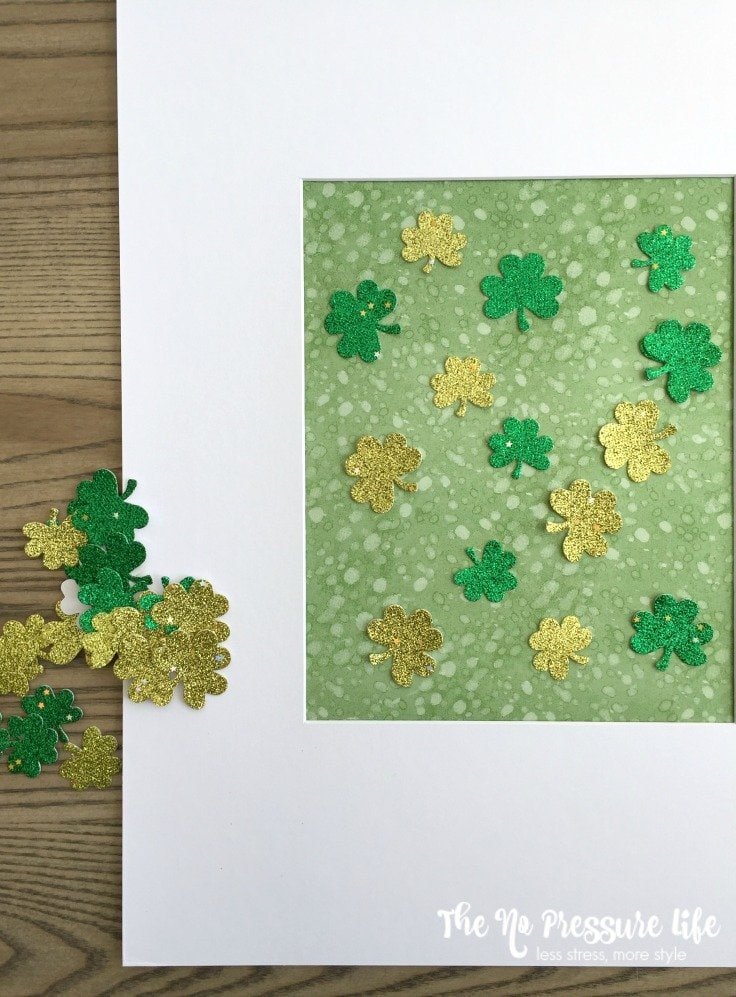 DIY framed art for St. Patrick's Day mantel decor