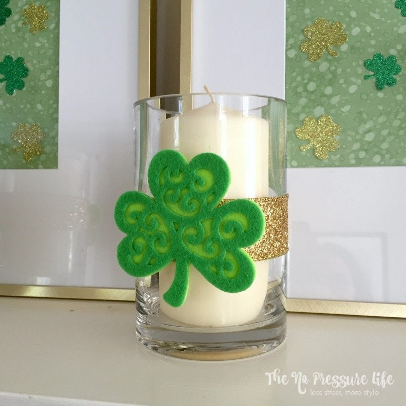 Candle holder decorated with a felt shamrock - DIY St. Patrick's Day mantel decor