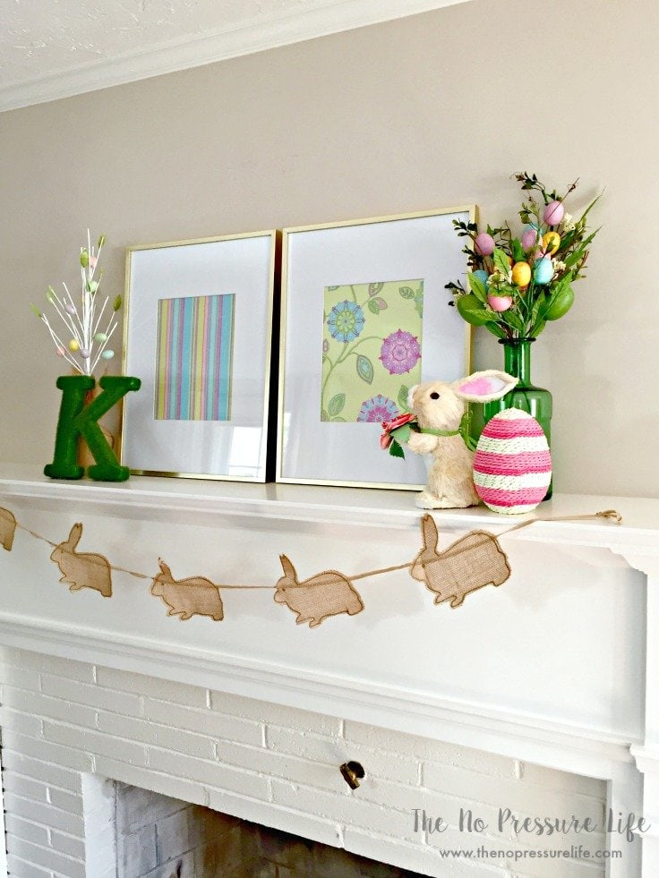 Easter Mantel Decorating Ideas - Easter mantel decorations on a fireplace