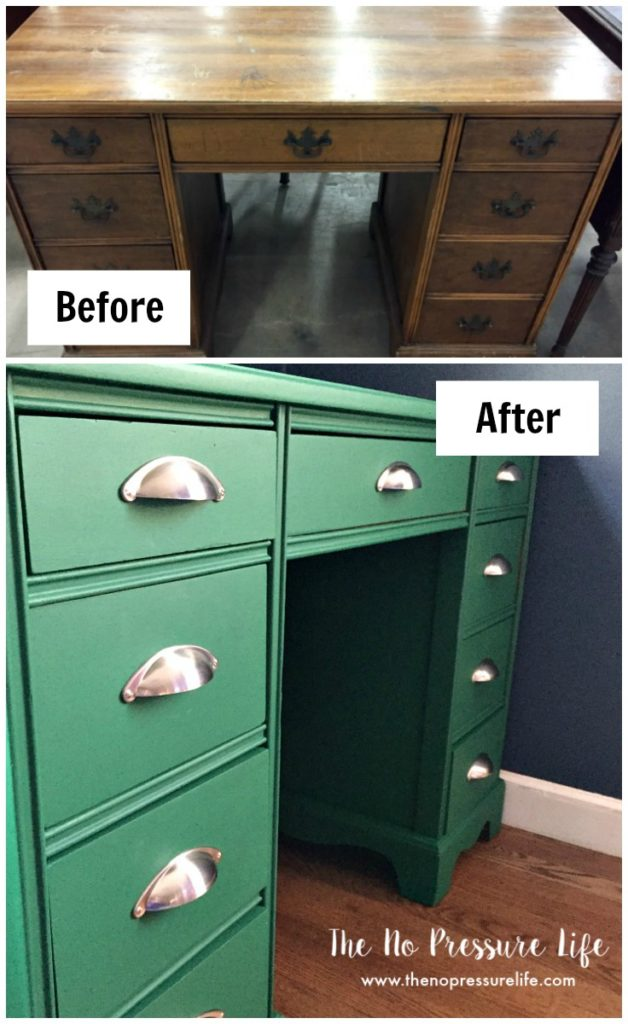 Before and after image of a brown thrift shop desk painted green, with new brushed nickel drawer pulls