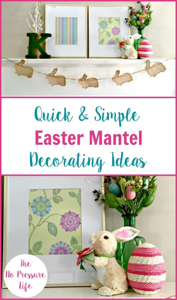 Easter mantel decorations on a white fireplace