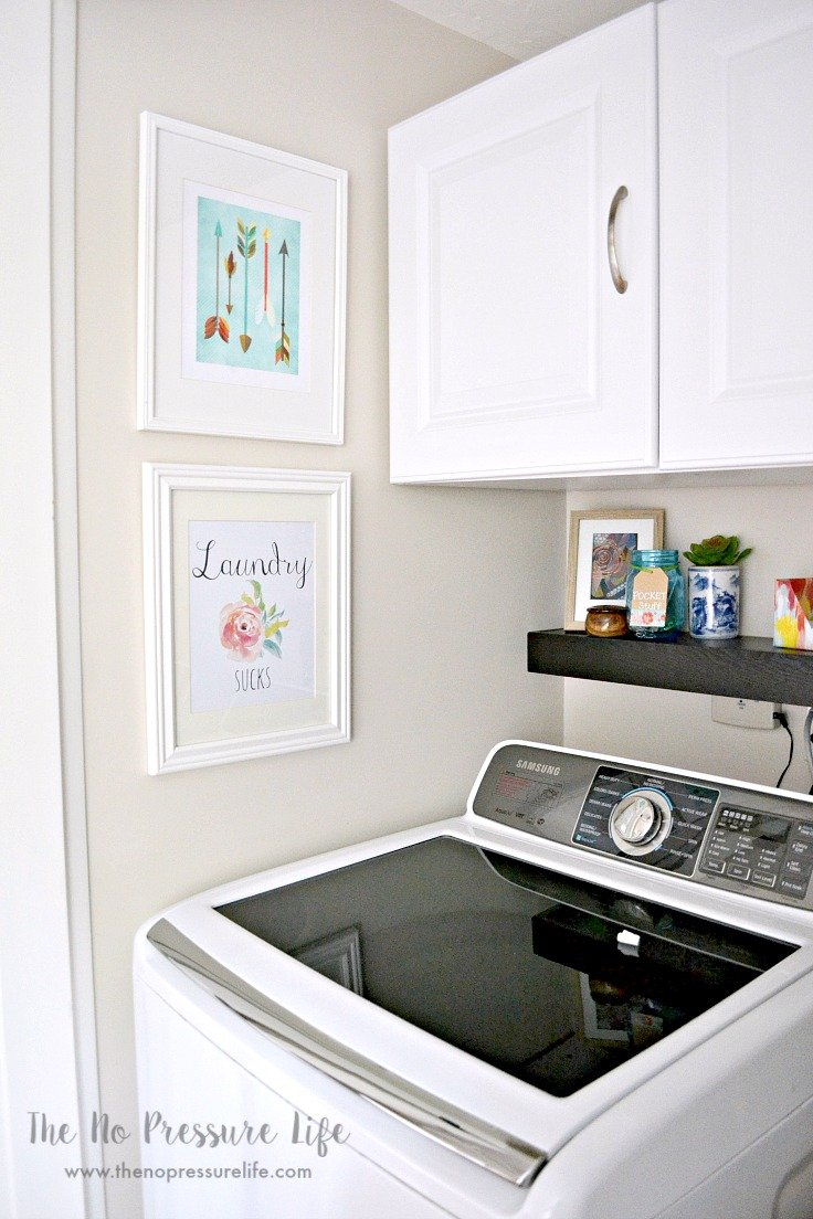 Quick and simple laundry room decor ideas, plus free printable laundry room art. See the whole laundry closet makeover at The No Pressure Life.
