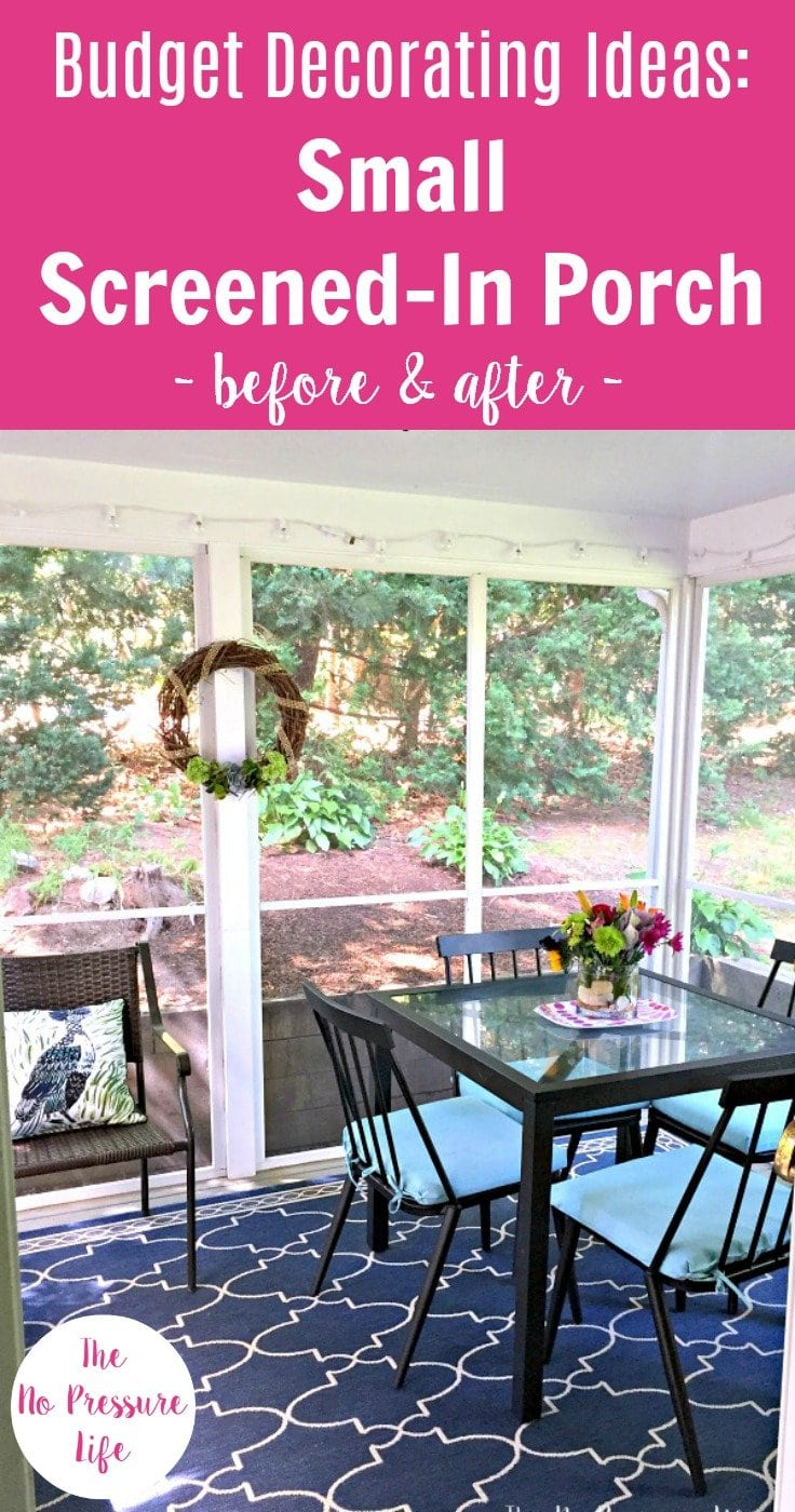 decorating a small screened in porch - blue indoor outdoor rug and black patio furniture