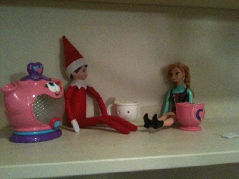 easy elf on the shelf ideas - tea party