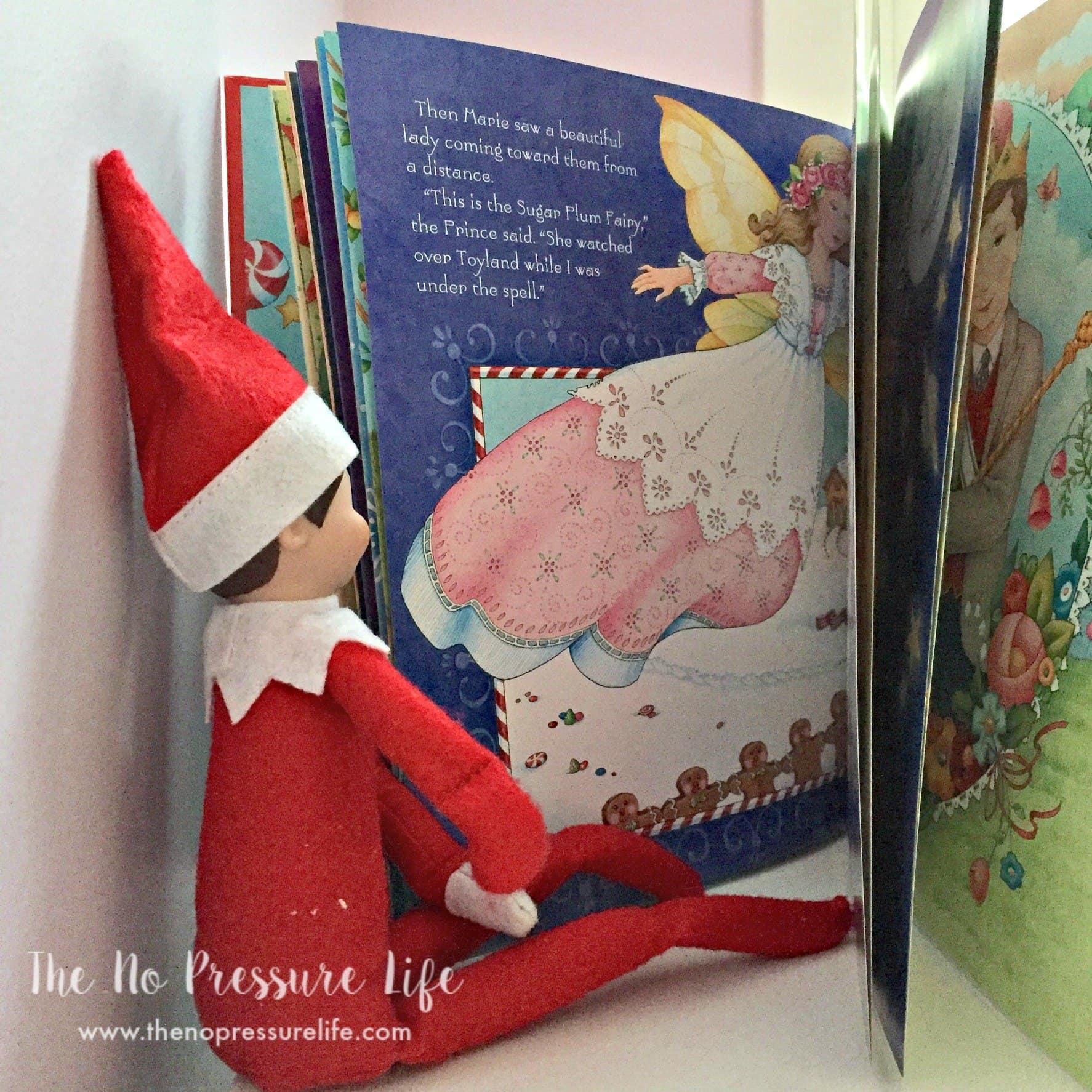 Easy Elf on the Shelf ideas: reading a book