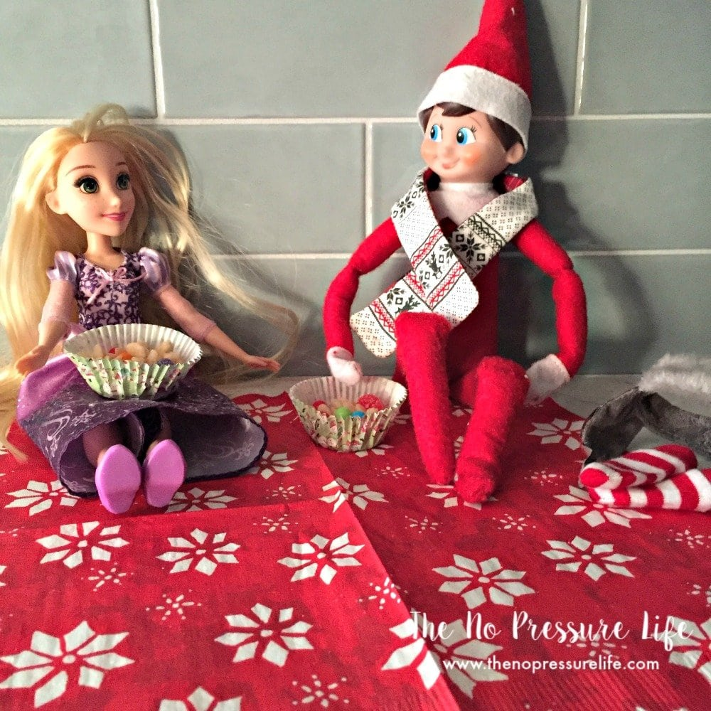 easy elf on the shelf idea - snack with Rapunzel
