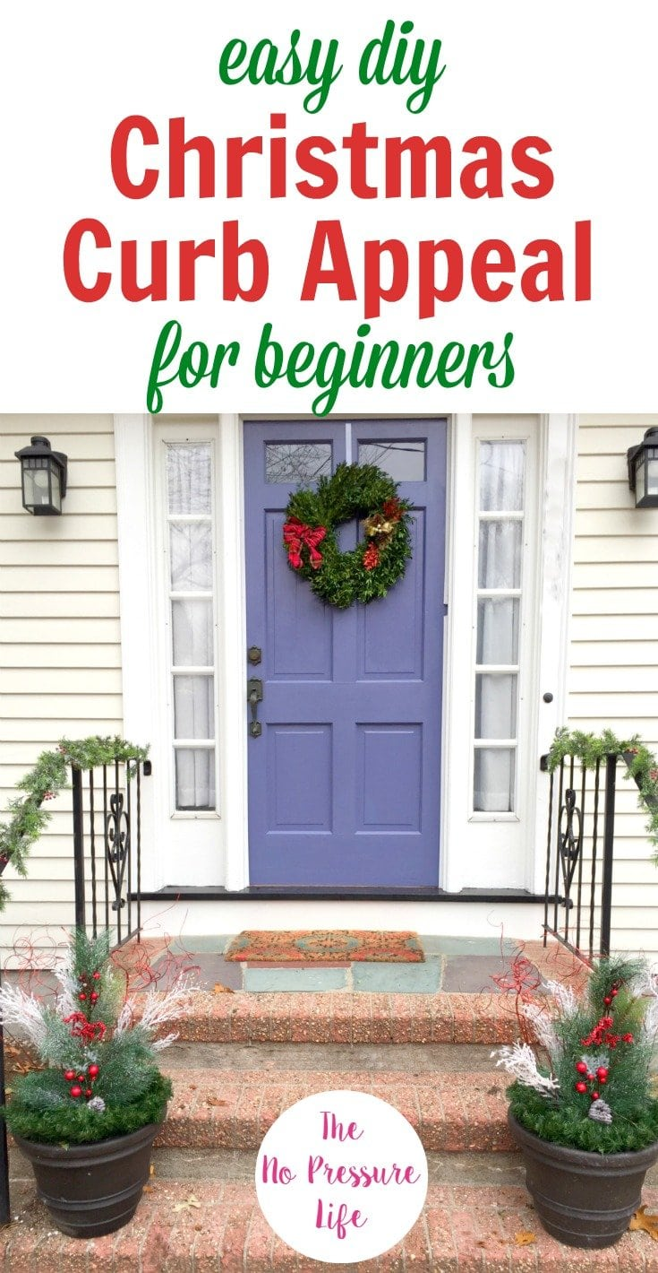 These Christmas curb appeal ideas are easy to DIY in under an hour with supplies you can use year after year. If you're looking for outdoor Christmas decorations for your porch, door, and front yard, you'll love these simple DIY Christmas planters, easy wreath, and energy-efficient lights to make your home festive for the holidays. #ChristmasDecor #CurbAppeal #holidaydecor #outdoordecoration #outdoordecor #holidaydecoration #Christmasdecoration #DIYChristmas