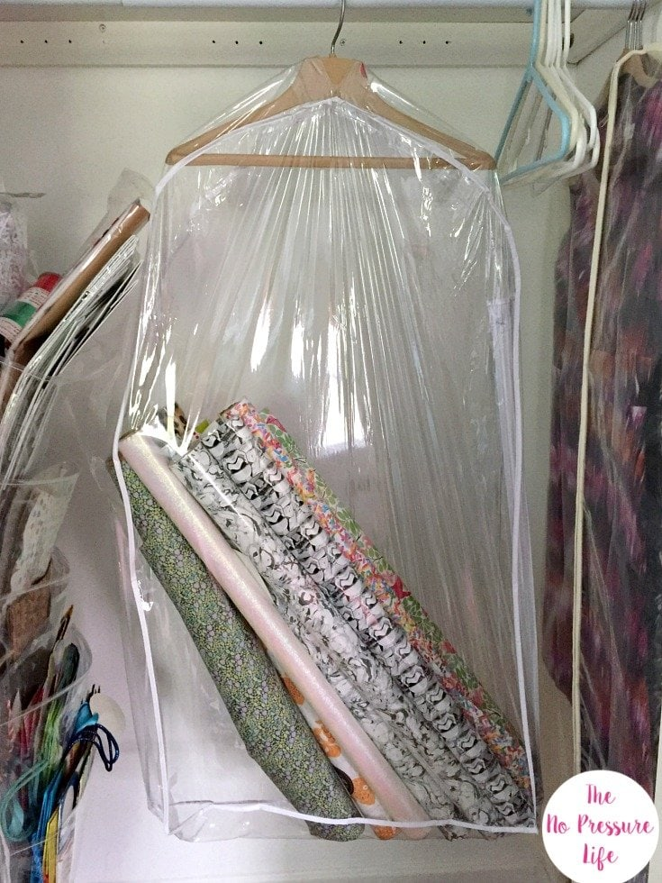 Wrapping paper storage idea in a closet
