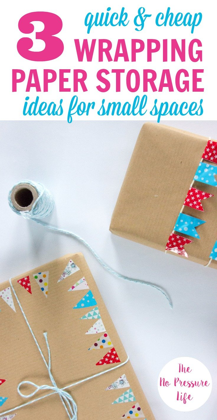 Wrapping paper storage ideas that are quick and cheap
