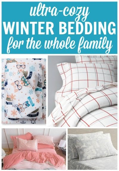 Winter Bedding for the whole family - flannel sheets and duvet covers for kids and adults.