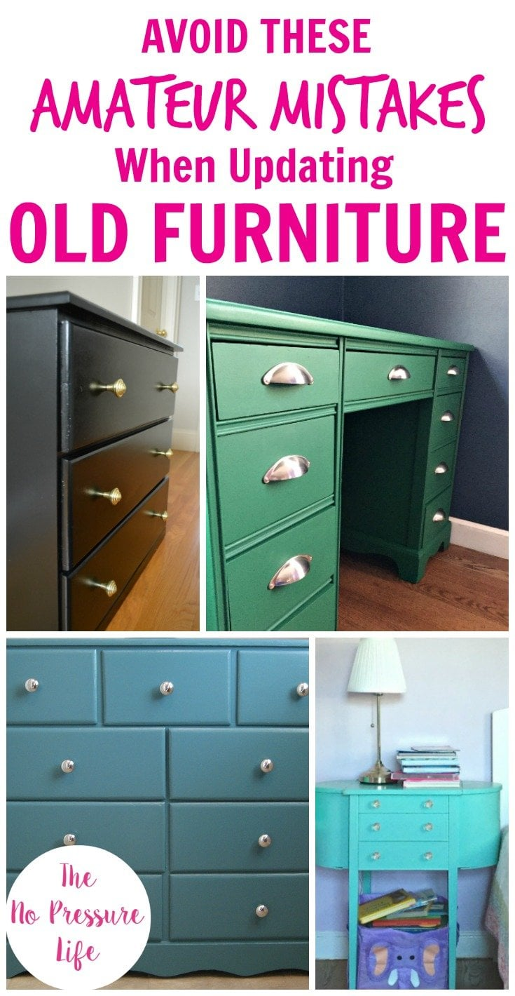 Collage featuring a painted green desk, black dresser, teal dresser, and aqua nightstand