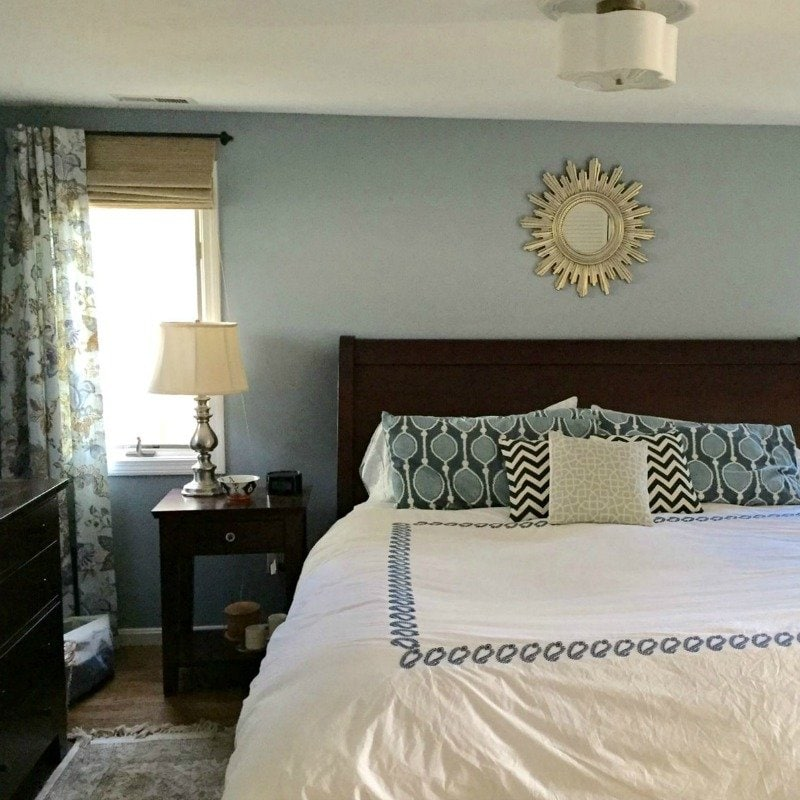 blue and white traditional master bedroom