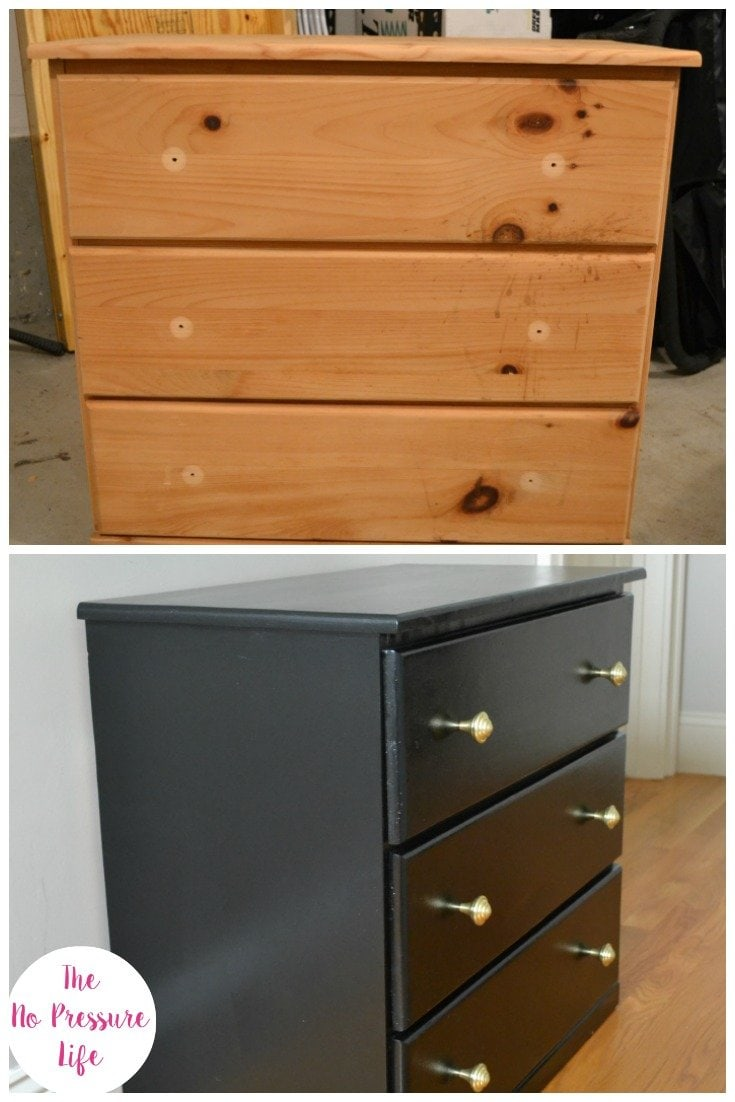 black dresser makeover with glossy paint