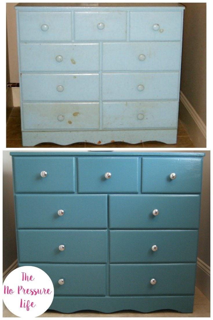 teal blue dresser makeover