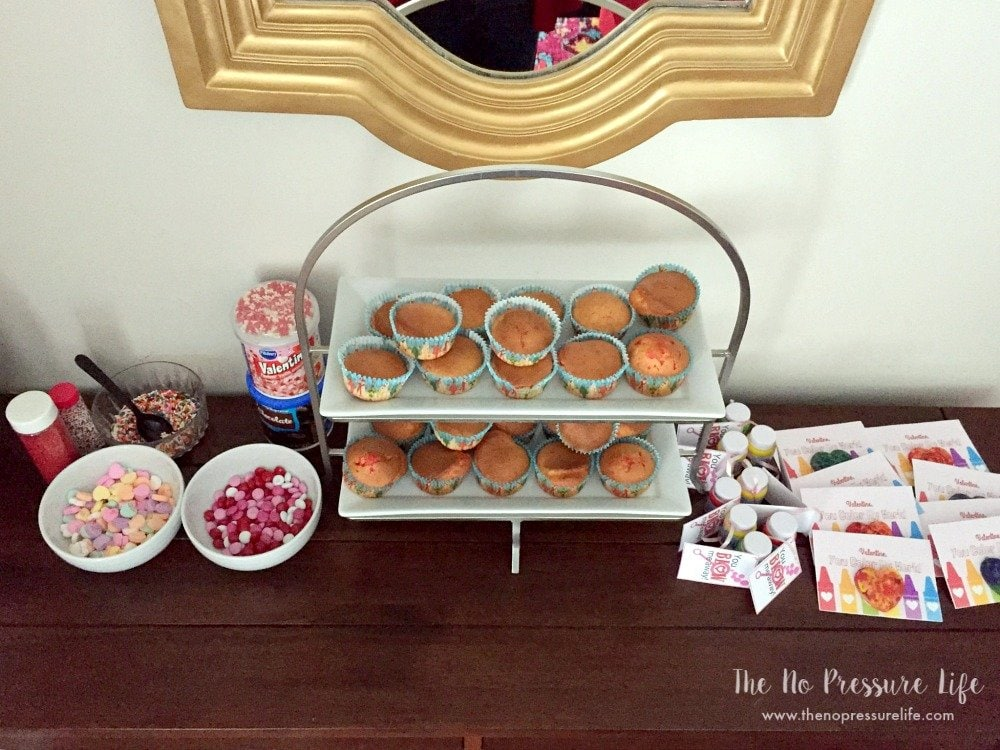 Valentine's Day party for kids - easy cupcake decorating station