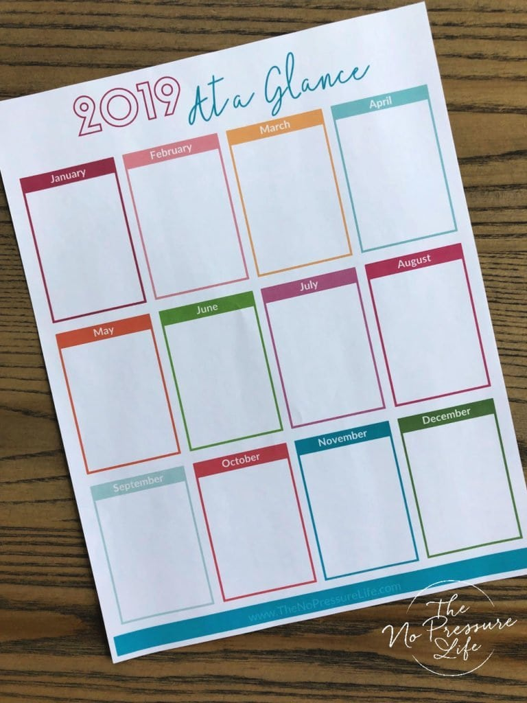 cute free printable year at a glance calendar for 2019 plus undated template
