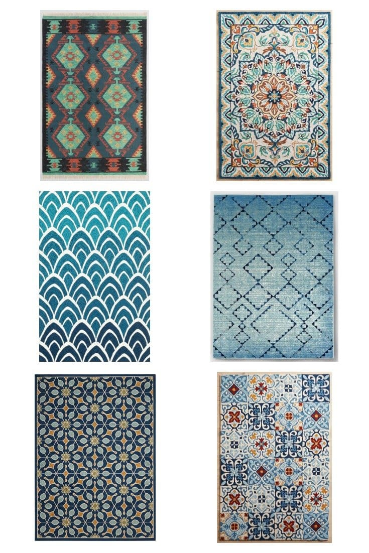 6 bold blue outdoor rugs