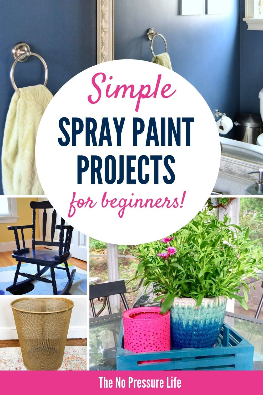 Easy DIY spray paint ideas and projects for beginners, including furniture, metal, wood trays, and mirrors